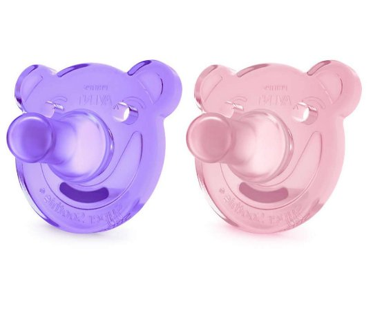 Chupetas em Silicone Soothie Roxo (0-3m) 2 UN -Philips Avent