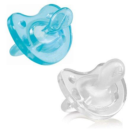 Kit 2 Chupeta Physio Soft Transparente e Azul (12+M) Chicco