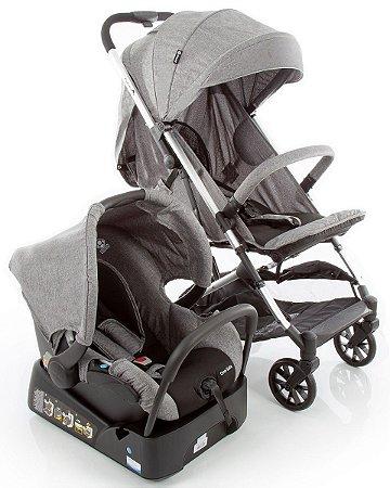 Carrinho de Bebê Travel System Skill Trio Grey Denim Safety
