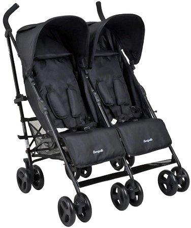 Carrinho de Bebê para Gêmeos Twingo (até 15 kg) - Preto - Burigotto