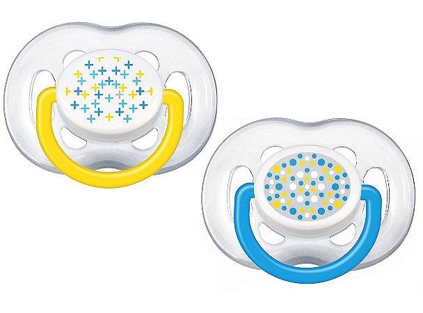 2 Un. Chupeta Contemp (+6M) - Amarelo e Azul - Philips Avent