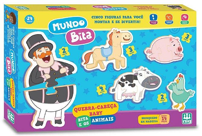 Quebra-Cabeça 14 Peças (+24M) - Mundo Bita e os Animais - NIG Brinquedos