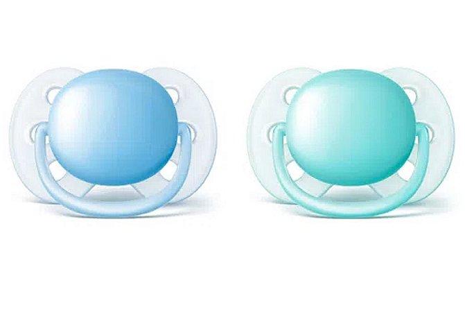 Chupeta Ultra Soft Dupla Azul e Verde 0 a 6 meses - Avent