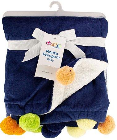 Manta Pompom Baby (+0M) - Azul - Comtac Kids