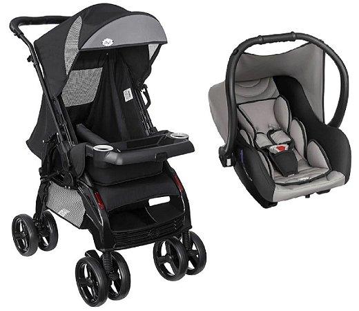 Conjunto de Carrinho de Bebê Upper e Bebê Conforto (até 15 kg) - Preto - Tutti Baby