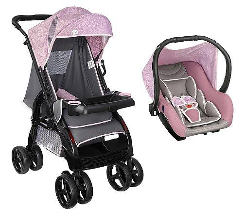 Conjunto Carrinho de Bebê Upper e Bebê Conforto Rosa - Tutti