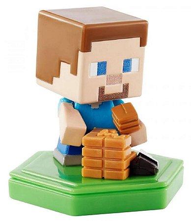 Mini Figura Minecraft Earth Steve Trabalhador - Mattel