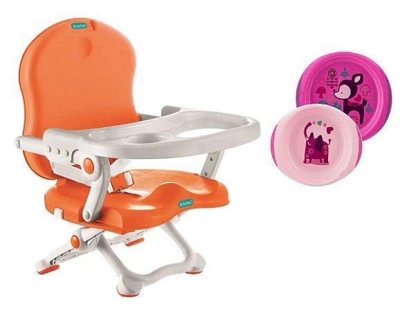 Cadeira de Alimentação Pocket Laranja  Bebeliê com Pratos