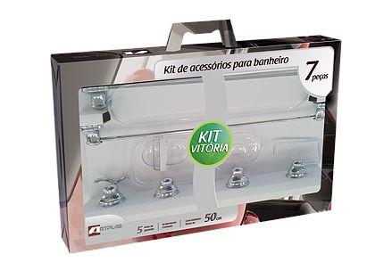 Kit Acess Banheiro 7 peças Vitoria Prata TC