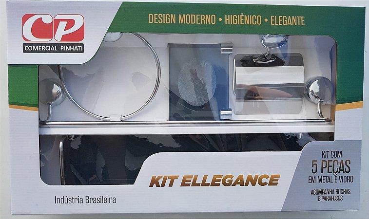 Kit Acess Banheiro Ellegance de Vidro 5 peças Fumê