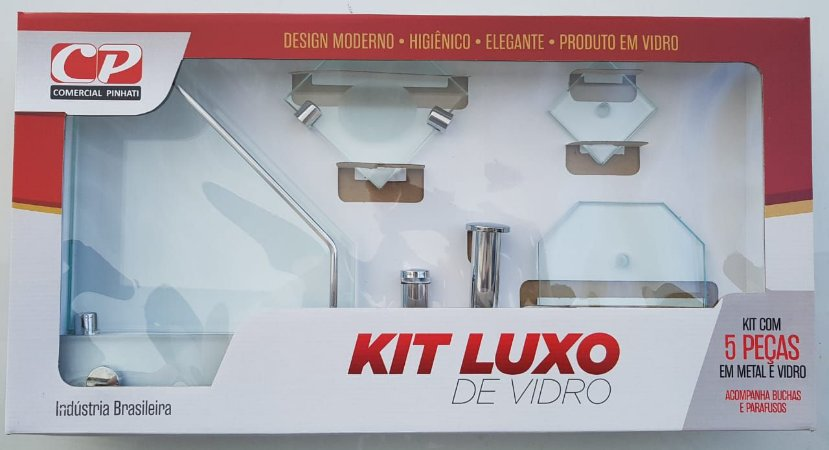 Kit Acess Banheiro Luxo de Vidro 5 peças Canto Incolor