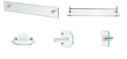 Kit Acess Banheiro 5 peças Luxo de Vidro Incolor