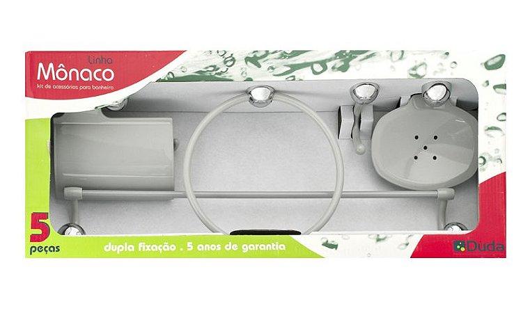 Kit Acessórios Banheiro 5 peças Mônaco Cinza Cromo