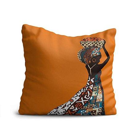 Capa de Almofada Yuzo Avulsa 45x45cm Africana Laranja