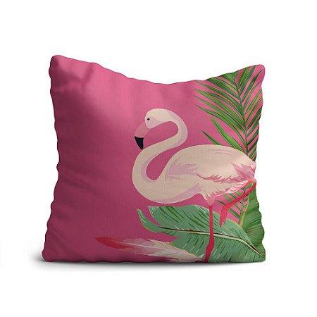 Capa de Almofada Yuzo Avulsa 45x45cm Flamingo Fundo Rosa