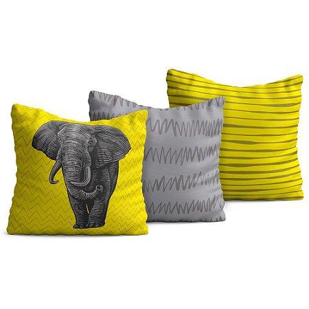 Kit 3 Capas de Almofadas Yuzo 45x45cm Elefante / Fundo Amarelo