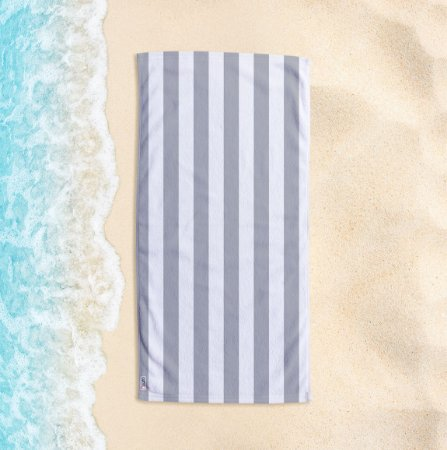 Toalha de Praia Yuzo 70x140cm Listrada Cinza Claro