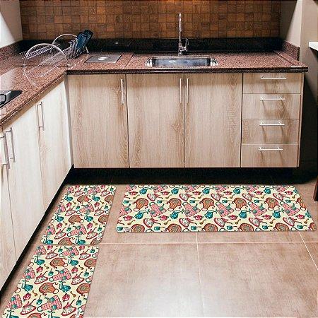Kit 3 Tapetes de Cozinha Yuzo Avental Branco