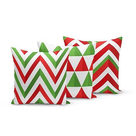 Kit 3 Almofadas de Natal Yuzo 45x45cm Geométrica Verde, Vermelho e Branco