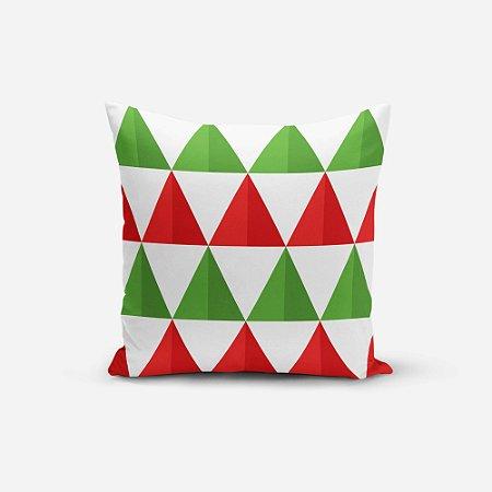 Almofada de Natal Avulsa Yuzo 45x45cm Triângulos Verde, Vermelho e Branco