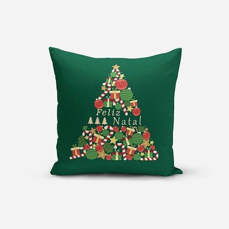 Almofada de Natal Avulsa Yuzo 45x45cm Feliz Natal Fundo Verde
