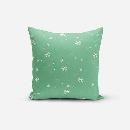 Almofada de Natal Avulsa Yuzo 45x45cm Neve Fundo Verde