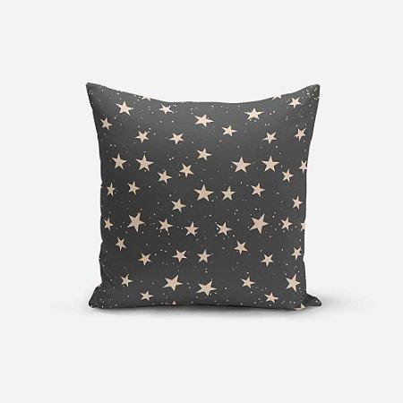 Almofada de Natal Avulsa Yuzo 45x45cm Estrelas Fundo Preto