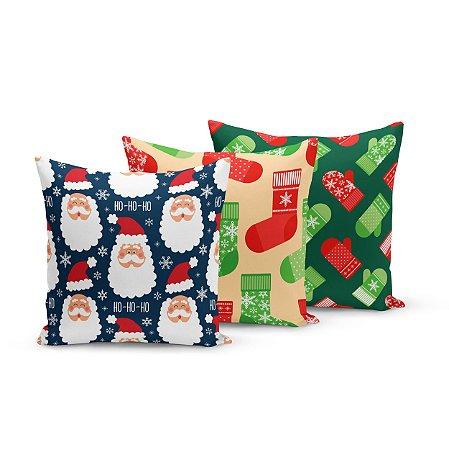 Kit 3 Capas de Almofadas de Natal Yuzo 45x45cm Papai Noel Estampa Colorida