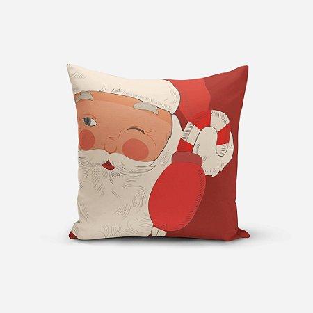 Capa de Almofada de Natal Avulsa Yuzo 45x45cm Papai Noel Fundo Vermelho