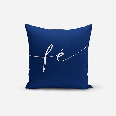 Capa de Almofada Avulsa Yuzo 45x45cm Escrita Fé Fundo Azul