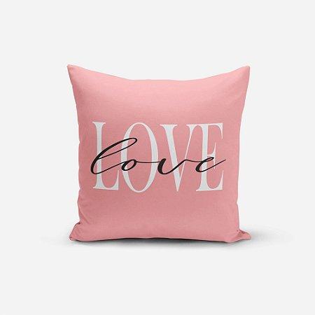 Capa de Almofada Avulsa Yuzo 45x45cm Escrita Love Rosa