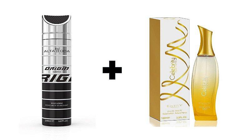 Desodorante Spray Alta Moda Intense 200 ml + Perfume Entity Celebrity Gold 100 ml