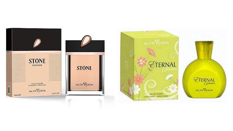 Perfume Stone Dourado 100ml + Perfume Eternal 100 ml - Alta Moda
