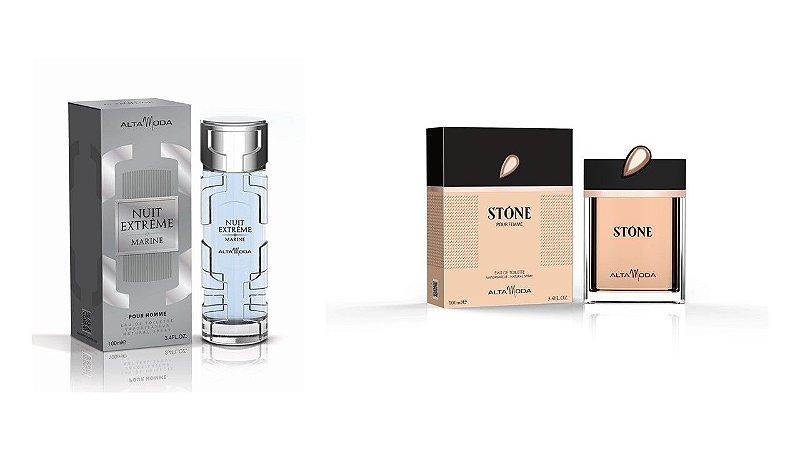 Perfume Extreme Marine 100ml + Perfume Stone Dourado 100ml - Alta Moda