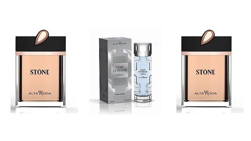 Kit Perfume Extreme Marine 100ml  com caixa + 2 pç Stone Dourado 100ml sem caixa