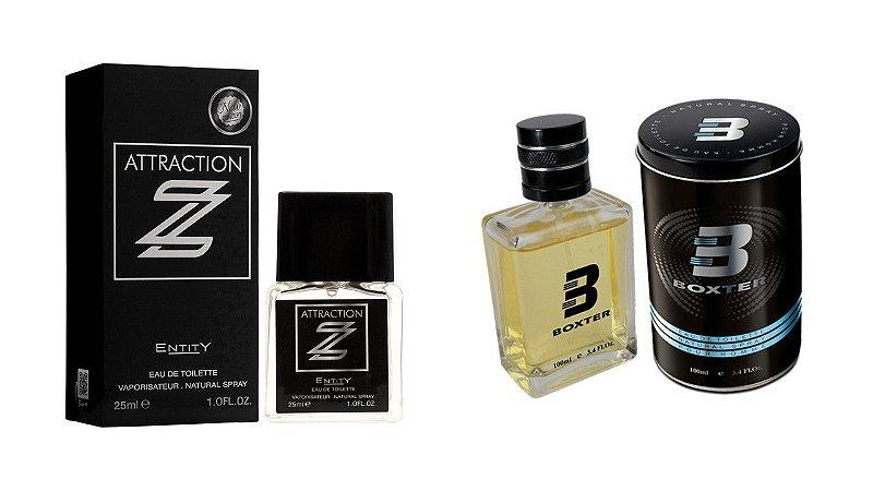 PERFUME BOXTER BLACK 100ML + ATTRACTION Z  ENTITY 25ML- 1 PÇ CADA