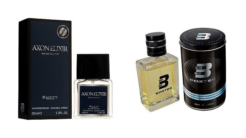PERFUME BOXTER BLACK 100ML + AXON ELIXIR ENTITY 25ML- 1 PÇ CADA