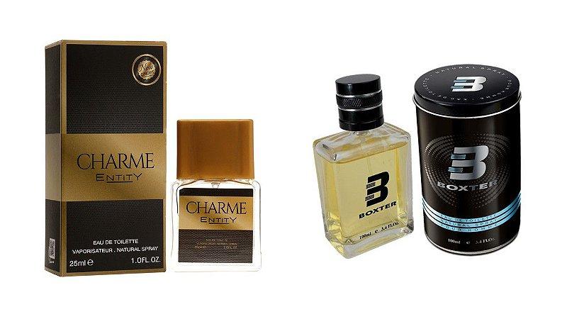PERFUME BOXTER BLACK 100ML + CHARME ENTITY 25ML- 1 PÇ CADA