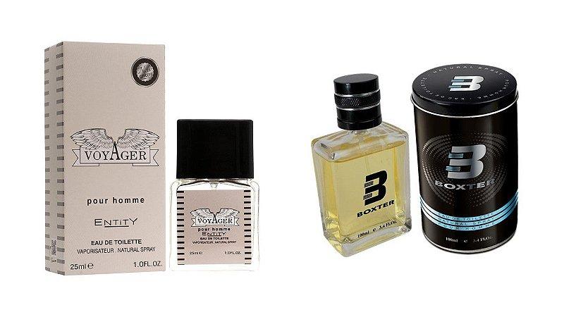 PERFUME BOXTER BLACK 100ML + VOYAGER ENTITY 25ML- 1 PÇ CADA