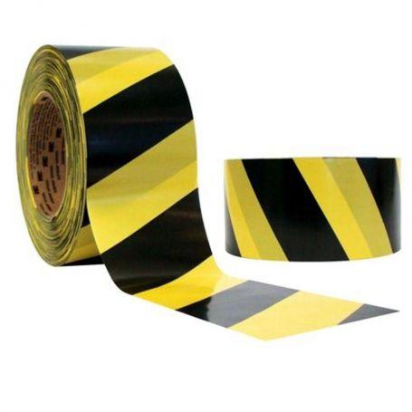 FITA DE DEMARCAÇÃO ADESIVA ZEBRADA (Un.) - 48mmX30Mt (preta e amarela)