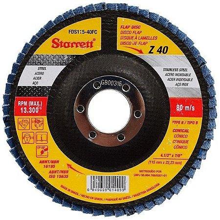 """DISCO FLAP 4.1/2"""" G 40 - STARRETT"""