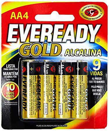Pilha Alcalina Gold Palito AAA4 - Eveready