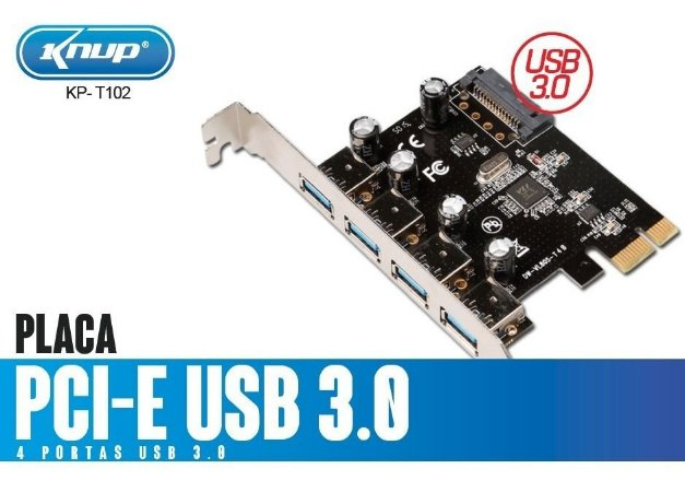 Placa Knup Pci - E USB 3.0 KP-T102