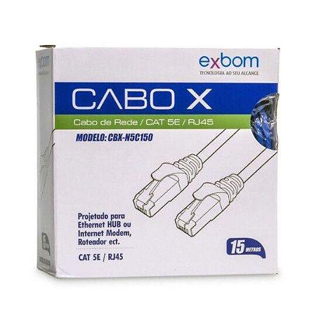 Cabo de rede CAT 5E Exbom 15M CBX-N5C150