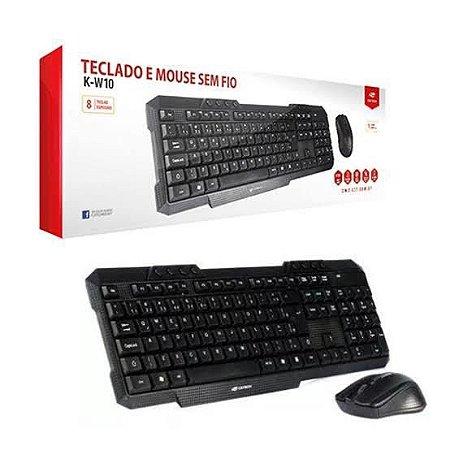 Kit Teclado e Mouse Sem Fio K-W10BK C3 Tech