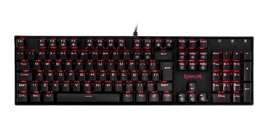 Teclado Mecânico Gamer Redragon Mitra K551, Switch Blue, ABNT2,