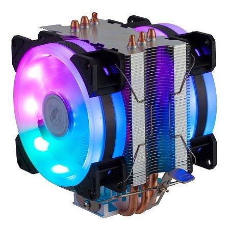Cooler Gamer Processador Dupla Fan LED/Dissipador DX-9107D