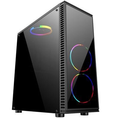 Computador, Gabinete Gamer BG-014, Ryzen 7 2700, Placa Mãe A320, Placa de Vídeo GTX550TI, Memória DDR4 8GB, SSD 240GB, Fonte 600W, Kit Cooler
