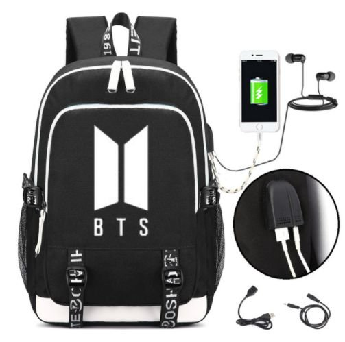 Mochila de Kpop BTS - Duas Cores (com entrada USB para Carregador & Fone)