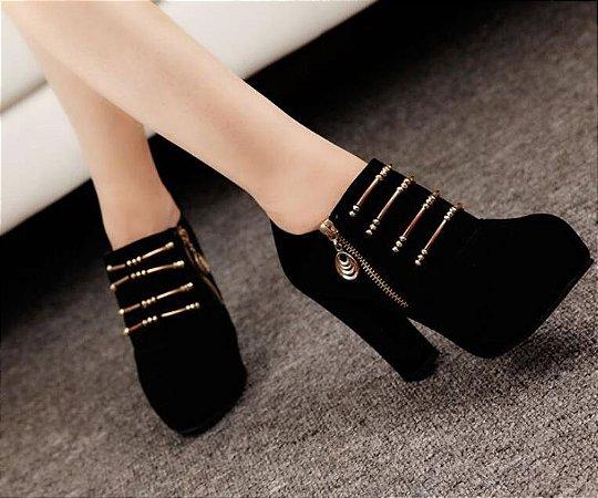Sapato Plataforma de Camurça ZIPPED em Duas Cores